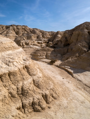 Les bad-lands, vastes terres argileuses découpées en crevasses.